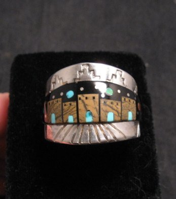 Merle House - Navajo - Multigem Inlaid Pueblo Night Sky Ring sz13