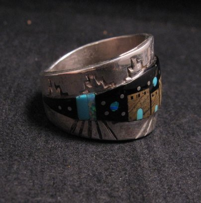Image 1 of Merle House - Navajo - Multigem Inlaid Pueblo Night Sky Ring sz13