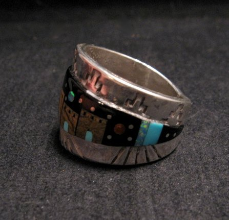 Image 2 of Merle House - Navajo - Multigem Inlaid Pueblo Night Sky Ring sz13