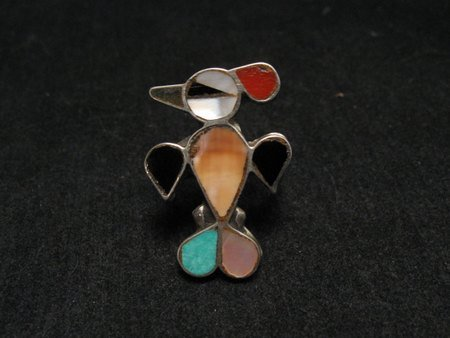 Image 1 of VINTAGE NATIVE AMERICAN ZUNI INLAY THUNDERBIRD RING SZ5-1/2