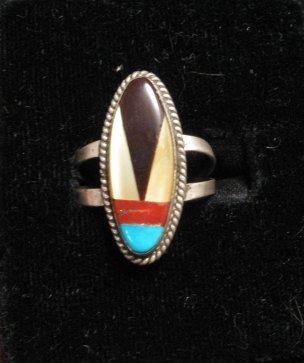Vintage American Indian Zuni Multi-Stone Inlay Ring sz7-3/4