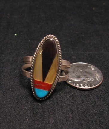 Image 1 of Vintage Southwestern Multi-Stone Inlay Ring sz7-3/4