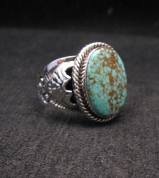 Navajo Native American Number 8 Turquoise Sterling Silver Ring Sz10-3/4