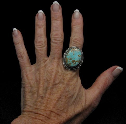Image 1 of Navajo Number 8 Turquoise Silver Ring Sz11-1/2, Rick Martinez