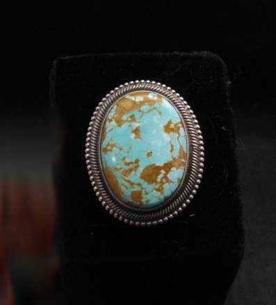 Image 2 of Navajo Number 8 Turquoise Silver Ring Sz11-1/2, Rick Martinez