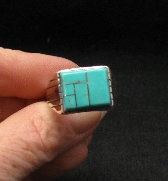 Native American Navajo Turquoise Inlay Sterling Silver Ring Sz12-1/2