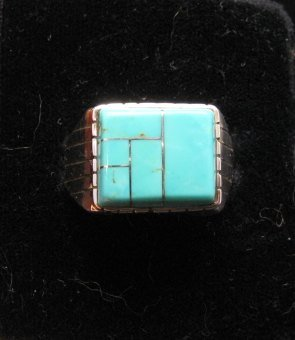 Image 1 of Native American Navajo Turquoise Inlay Sterling Silver Ring Sz12-1/2