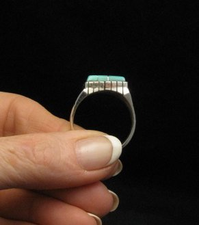 Image 2 of Native American Navajo Turquoise Inlay Sterling Silver Ring Sz12-1/2