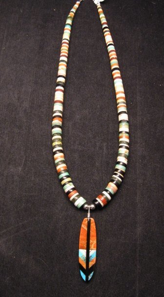 Santo Domingo Kewa Inlaid Feather Heishi Necklace, Rudy & Mary Coriz