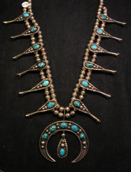 Image 0 of Navajo Old Pawn Turquoise Silver Squash Blossom Necklace
