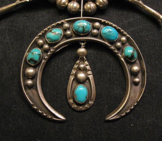 Image 1 of Navajo Old Pawn Turquoise Silver Squash Blossom Necklace