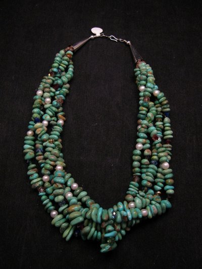 5 Strand Turquoise Nugget Necklace 19'', Rudy & Mary Coriz Santo Domingo