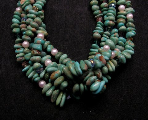 Image 1 of 5 Strand Turquoise Nugget Necklace 19'', Rudy & Mary Coriz Santo Domingo