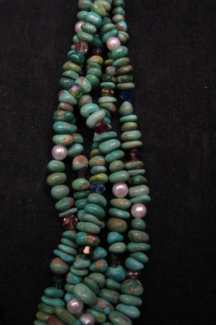 Image 2 of 5 Strand Turquoise Nugget Necklace 19'', Rudy & Mary Coriz Santo Domingo