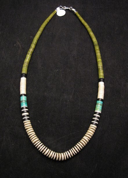 Santo Domingo Multicolor Heishi Necklace 18'', Rudy & Mary Coriz