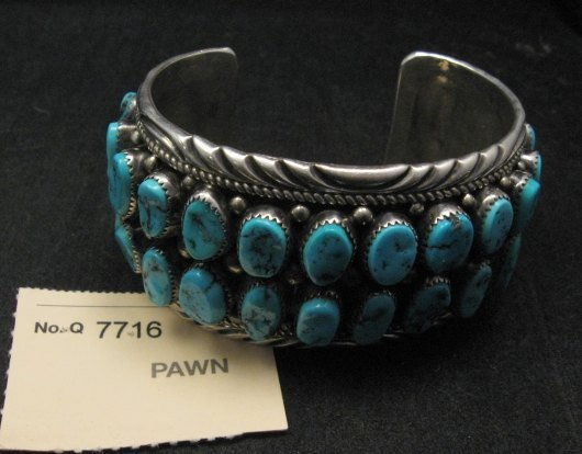 Image 1 of Big Native American Navajo Pawn Turquoise Cuff Bracelet