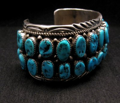 Image 2 of Big Native American Navajo Pawn Turquoise Cuff Bracelet