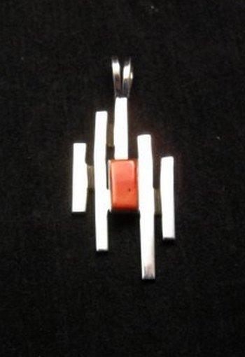 Contemporary Navajo/Dine Handmade Silver Pendant, Ronnie Henry