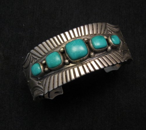 Arnold Blackgoat Navajo Turquoise Sterling Silver Cuff Bracelet