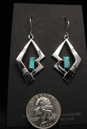 Elegant Navajo Indian Turquoise Silver Earrings, Ronnie Henry