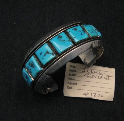 Dead Pawn Native American Navajo Turquoise Silver Bracelet, Benny Touchine
