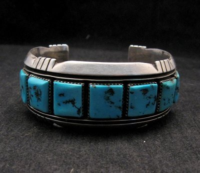 Image 1 of Dead Pawn Native American Navajo Turquoise Silver Bracelet, Benny Touchine