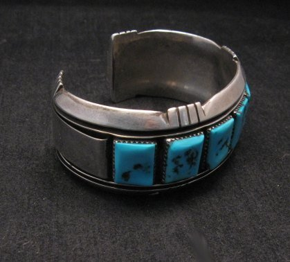 Image 2 of Dead Pawn Native American Navajo Turquoise Silver Bracelet, Benny Touchine