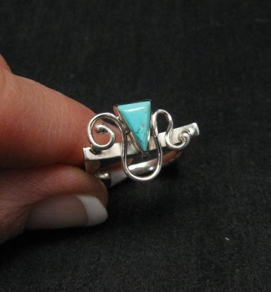 Amazing Navajo Indian Turquoise Silver Ring by Ronnie Henry, sz7