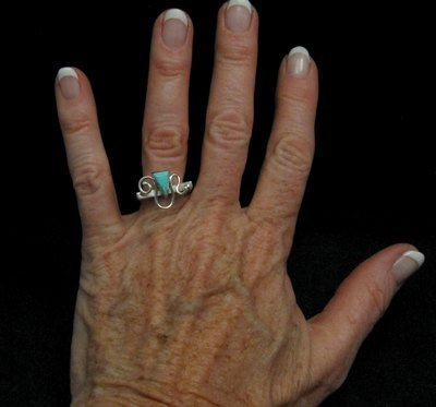 Image 1 of Amazing Navajo Indian Turquoise Silver Ring by Ronnie Henry, sz7