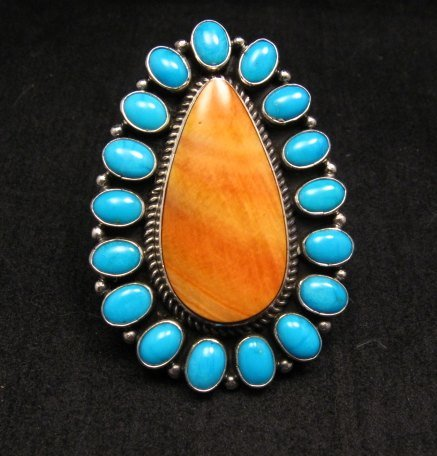 *WOW* Native American Turquoise Spiny Oyster Cluster Ring sz8, Geneva Apachito