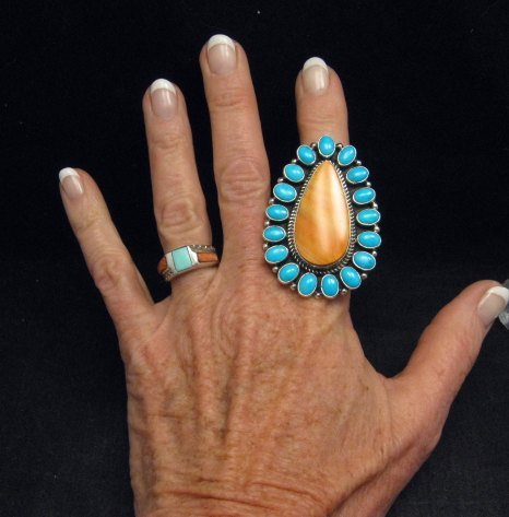 Image 1 of *WOW* Native American Turquoise Spiny Oyster Cluster Ring sz8, Geneva Apachito