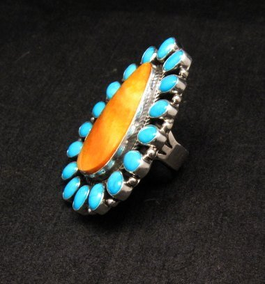 Image 2 of *WOW* Native American Turquoise Spiny Oyster Cluster Ring sz8, Geneva Apachito