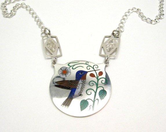 Ruddell & Nancy Laconsello, Zuni, Inlaid Hummingbird Necklace