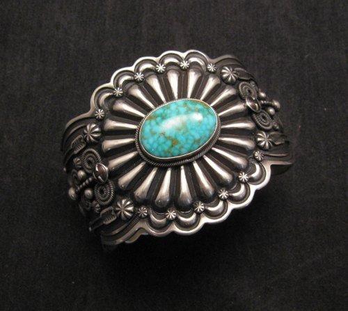 Image 1 of Darrell Cadman Navajo Kingman Birdseye Turquoise Sterling Silver Bracelet