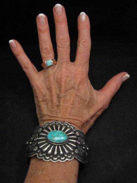 Image 2 of Darrell Cadman Navajo Kingman Birdseye Turquoise Sterling Silver Bracelet