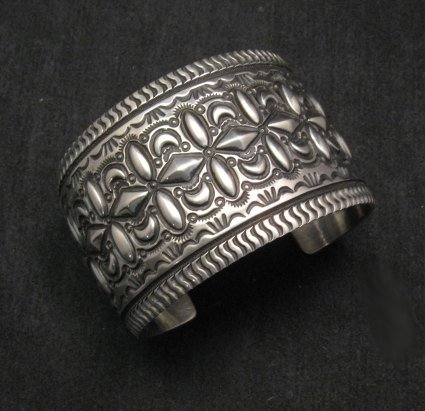 Wide Darryl Becenti Repousse Stamped Sterling Silver Bracelet