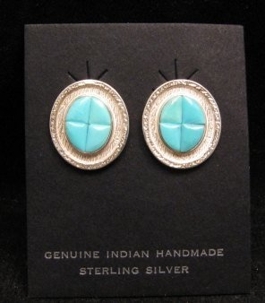Hopi Turquoise Inlay Earrings, Bennard & Frances Dallasvuyaoma