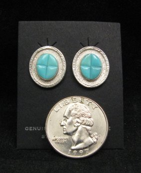 Image 1 of Hopi Turquoise Inlay Earrings, Bennard & Frances Dallasvuyaoma