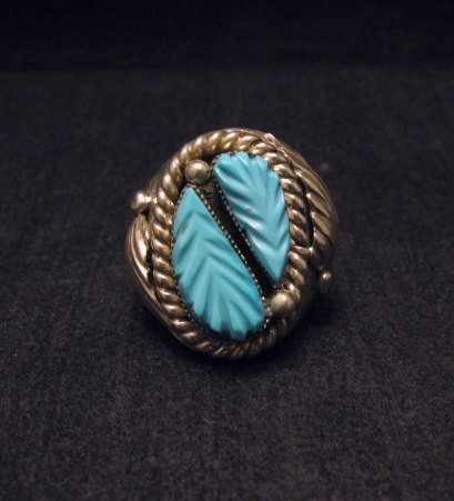 Zuni Native American Turquoise Silver Ring Robert Eustace sz10-1/2