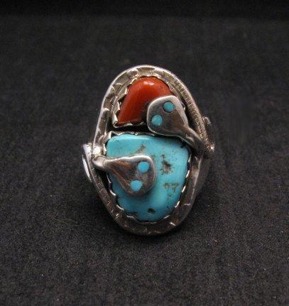Zuni Turquoise Coral Snake Ring Effie C Calavaza sz10-3/4