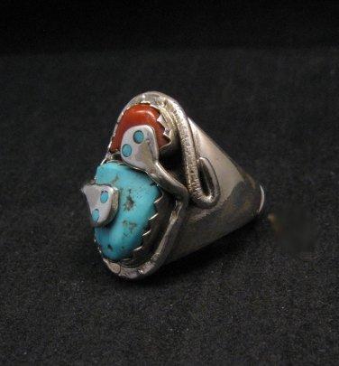 Image 1 of Zuni Turquoise Coral Snake Ring Effie C Calavaza sz10-3/4