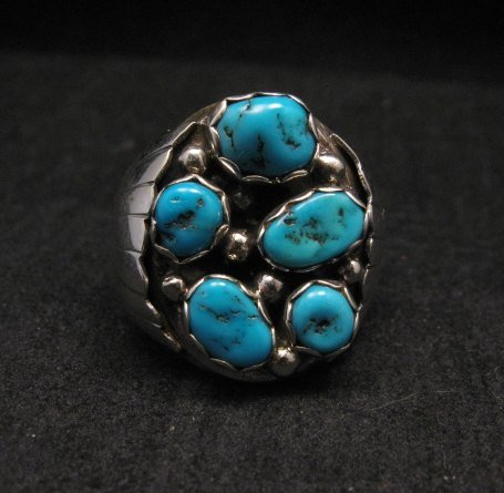 Image 0 of Navajo Turquoise Sterling Silver Mens Ring sz12, Marlene Martinez