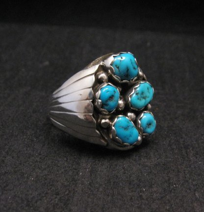Image 1 of Navajo Turquoise Sterling Silver Mens Ring sz12, Marlene Martinez