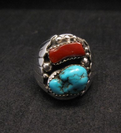 Image 0 of Native American Navajo Turquoise Coral Silver Ring sz10