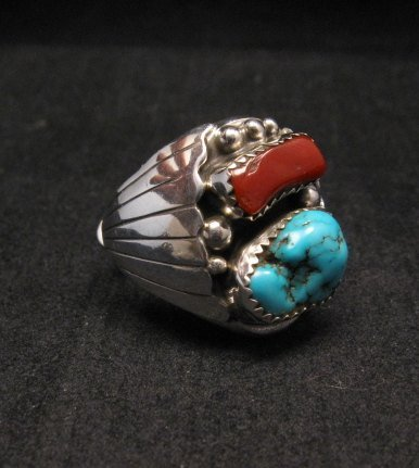 Image 1 of Native American Navajo Turquoise Coral Silver Ring sz10