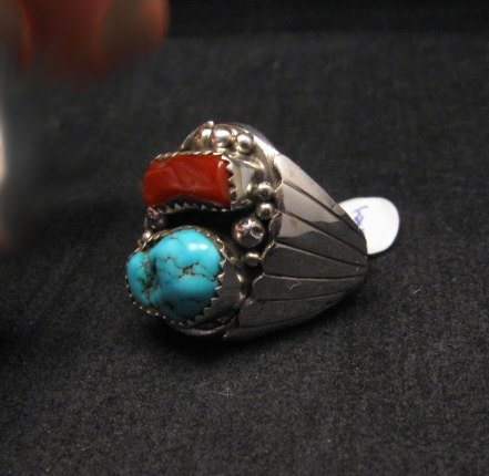 Image 2 of Native American Navajo Turquoise Coral Silver Ring sz10