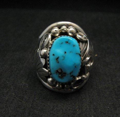 Native American Navajo Kingman Turquoise Silver Ring sz13