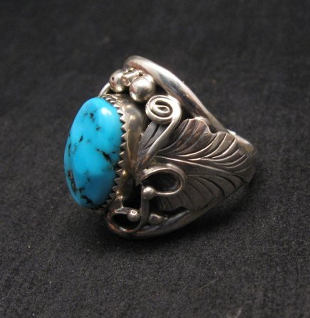 Image 2 of Native American Navajo Kingman Turquoise Silver Ring sz13