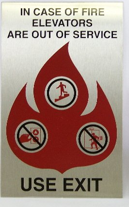 FSICF-58-A-SS IN CASE OF FIRE SIGN 5X8 STAINLESS STEEL