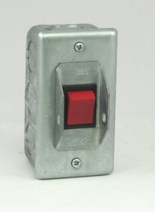 PS-1SRG Elevator Run-Stop Pit Switch, Steel cover with Rocker Switch & Guard